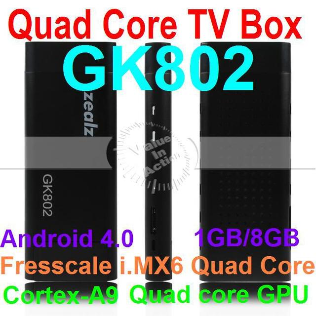 New Arrival Zealz GK802 Freescale Quad Core TV Stick Mini PC Cortex-A9 Android 4.0 TV Box with built-in Bluetooth HDMI 1080P