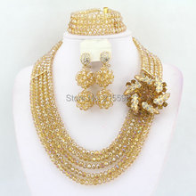 Gold African Beads Jewelry Set Costume African Nigerian Wedding Bridal Beads Necklace Jewelry Sets 2015 Hot Free Shipping AES998(China (Mainland))