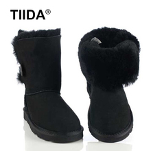 TIIDA Hot Sale Women Genuine Sheepskin Leather Snow Boots 100% Natural Fur Snow Boots Warm Wool Winter Boots Free Shipping(China (Mainland))