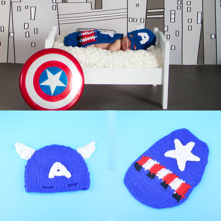 2015 New Captain America Handmade Crochet Newborn Baby Photography Props Costume Set Infant Knitting Hat + Cover Photo Props(China (Mainland))