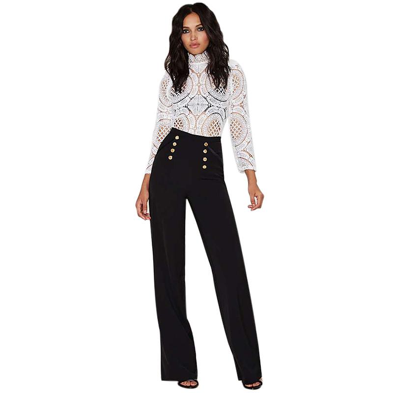 2016 Spring Elegant Ladies Trousers Fashion Women Wide Leg Pants Casual High Waist Long Pants Button Office Work Wear pantalones(China (Mainland))