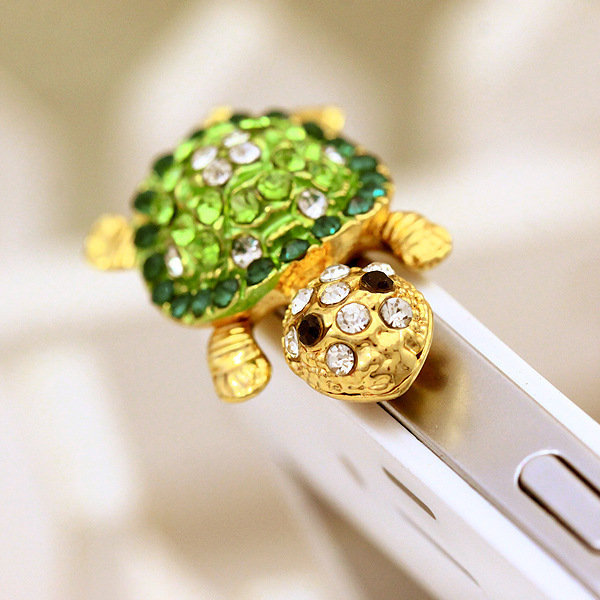 Cute Shiny Rhinestones Alloy Turtle Shaped Earphone Jack Plug 3.5mm Dust Plug for Cellphone Gift for Friend(China (Mainland))