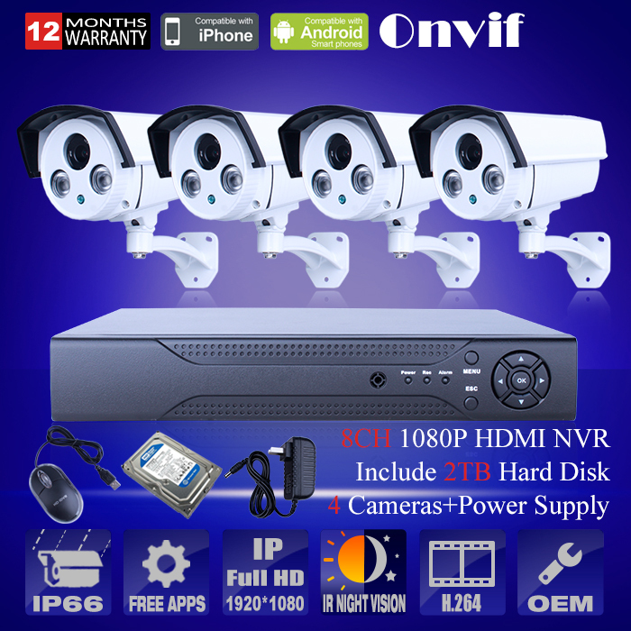 Система видеонаблюдения Anran Security 2 HDD 8/nvr Onvif 1080P HD h.264 IR IP 8CH-HK02W-IP2.0-4 free shipping wholesale h 264 home security ir outdoor p2p cloud bullet ip camera 1 0mp hd 720p