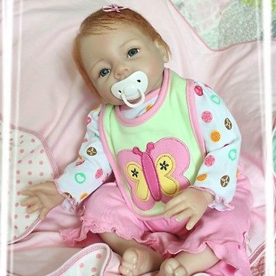22inch 55cm Magnetic Mouth Reborn Baby Doll Soft Silicone Lifelike Toy Gift for Children Christmas Present Butterfly Pink(China (Mainland))