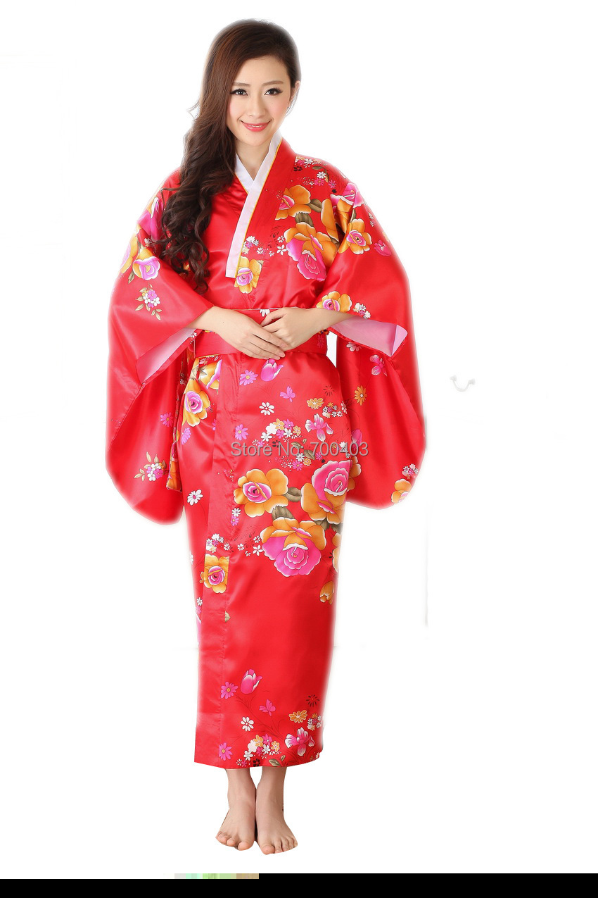 Free Shipping Women Red Flower Pattern Japan Kimono Robe Yukata Costume Spa Sauna Clothing Loose ...