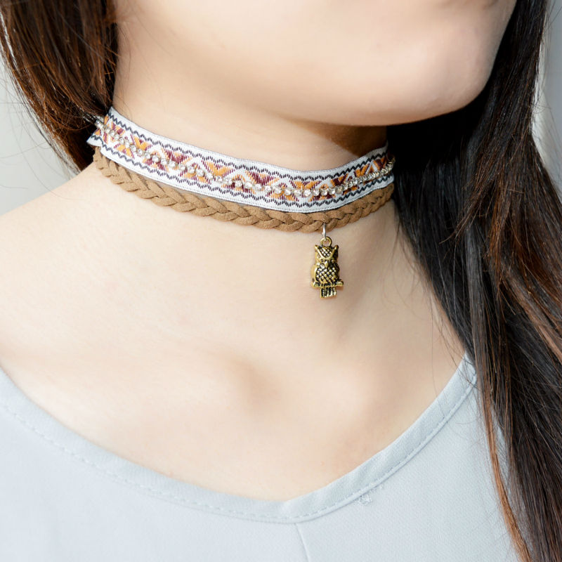 New Design Brown Leather With Vintage Owl Choker Necklaces & Pendants And Mini Crystal Ribbon Choker Necklace Set For Women Lady(China (Mainland))
