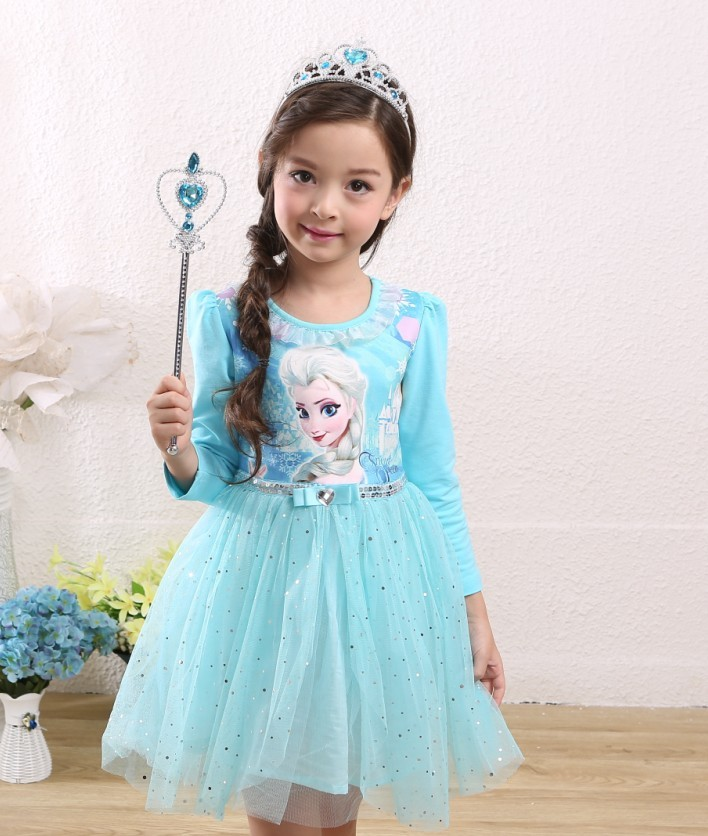 EMS DHL Free shipping 2015 NEW little girls kids Cute Anna Elsa Princess Tulle Easter Dress + Cape dress 2 Colors Ice Queen(China (Mainland))