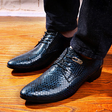 men's fashion business wedding dress snake print genuine leather shoes casual pointed toe flats shoe oxfords party footwear man