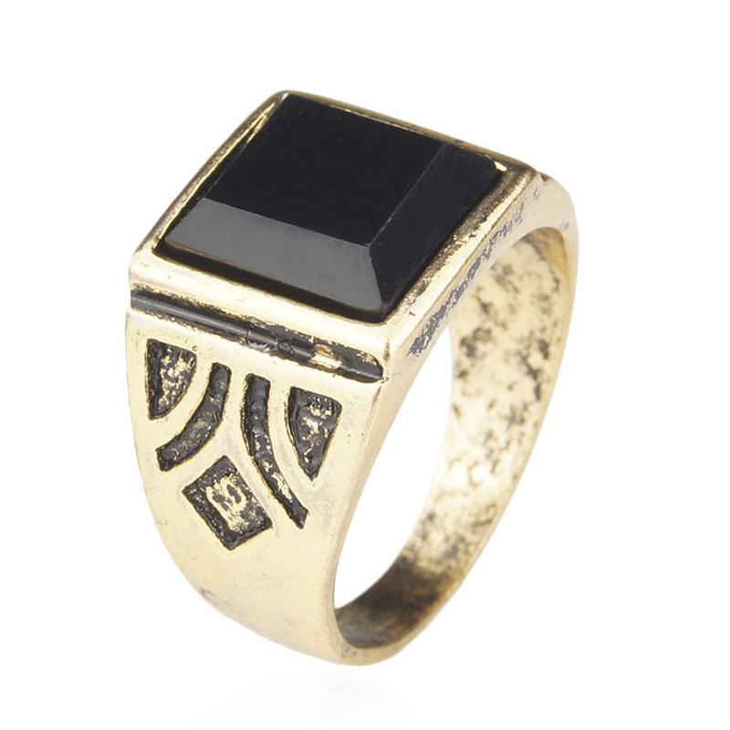 Men Jewelry High Quality Black Gold Plated Ring Men Wedding Party Accessories