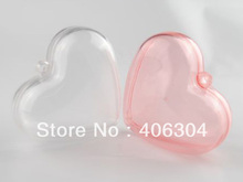 Free shipping,8cm transparent clear hanging heart candy box ball ,clear plastic christmas ornaments, DIY item(China (Mainland))
