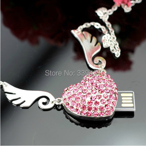 real capacity usb stick crystal Angel wings love usb flash drive 32gb pendrive 4GB/8GB/16GB/32GB flash card heart gifts(China (Mainland))