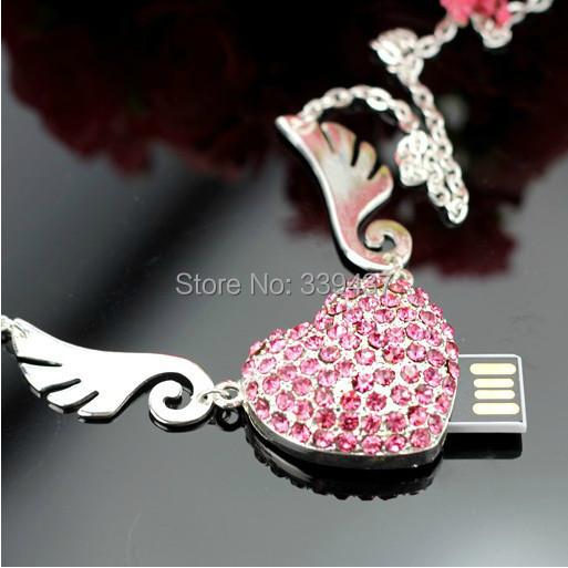 real capacity usb stick crystal Angel wings love usb flash drive 32gb pendrive 4GB/8GB/16GB/32GB flash card heart gifts(China (Mainland))