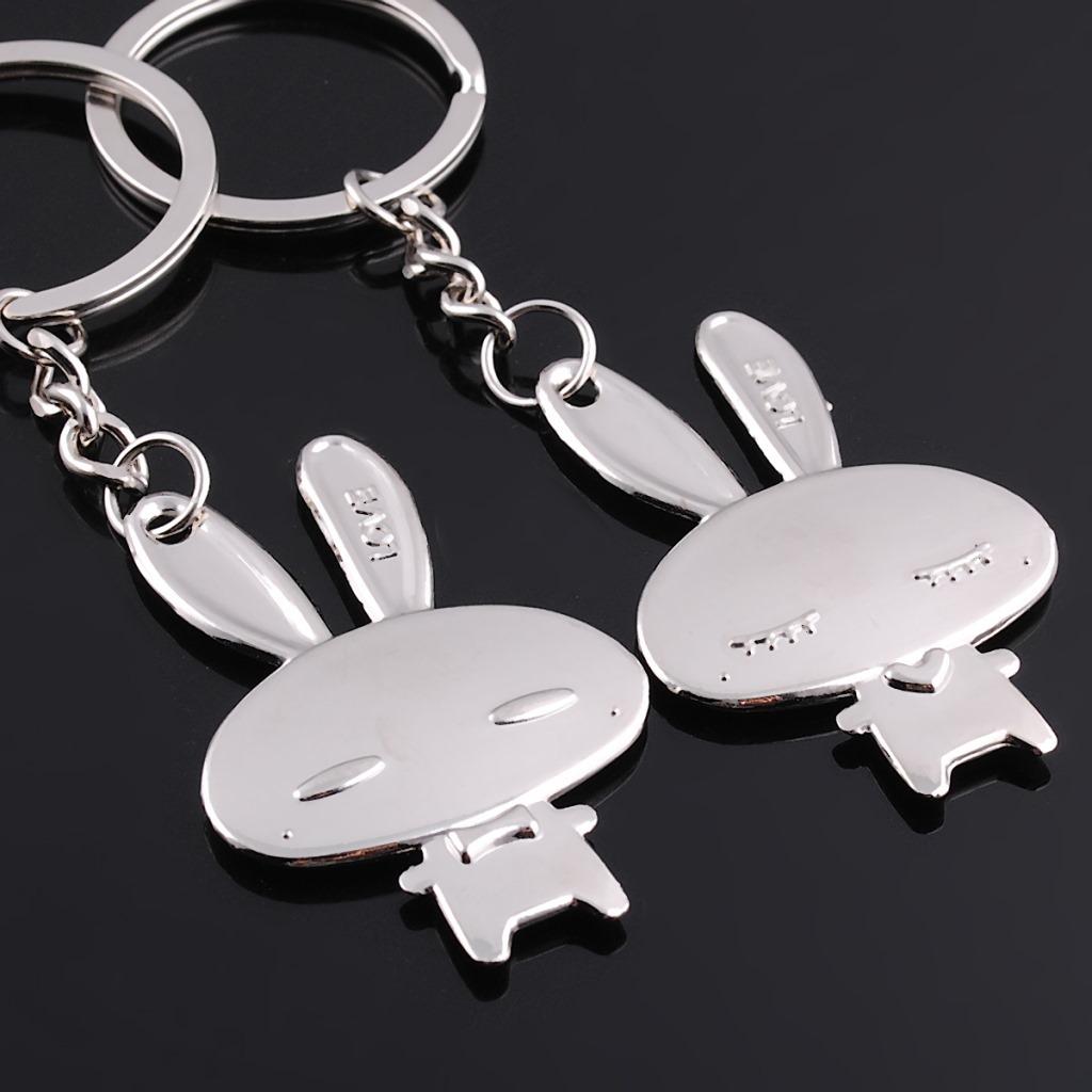 Fashion Cute Love Rabbit Couple Key Chain Lovers Pendant Key Rings Chains #F378(China (Mainland))