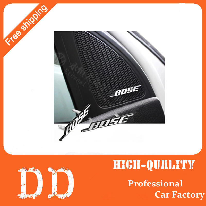 Free shipping 2015 New Arrive Wholesale BOSE Aluminium Car Speaker sticker feel Logos Emblems Badge long feet mark stickers(China (Mainland))
