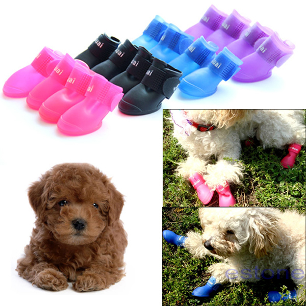 Free Shipping 4pcs/set Dog's Shoes,Pet Shoes,Pet Boots Anti Slip Skid Waterproof Size S M L(China (Mainland))