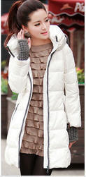 women's cotton-padded jacket winter 2013 new long thick cotton detachable hooded zipper white duck down coat free shipping H1661(China (Mainland))