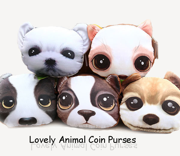 New 2015 Cute 3d printing animal female coin purses women's small lovely cat dog wallet women accessories(China (Mainland))