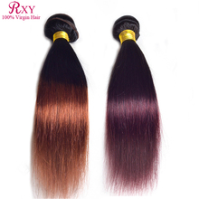 Buy Rxy Hair Straight Ombre Hair Extensions 3 Bundles Two tone Ombre Hair Weaves 1B/Burgundy Indian Virgin Hair Straight for $107.90 in AliExpress store