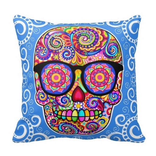 Hot Hipster Sugar Skull Pillow Case Day Of The Dead Art (Size: 20