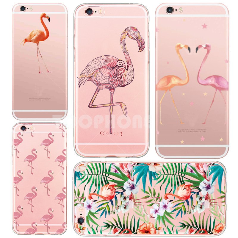 Newest Soft Colorful Flamingo Bird Case for iPhone 6 6S 6Plus 5S SE Cute Animals Transparent Silicone Phone Cases Cover Fundas(China (Mainland))