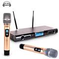 Professional UHF Wireless Microphone System Dual Handheld Mic With Receiver 2 Channels Display For Karaoke KTV