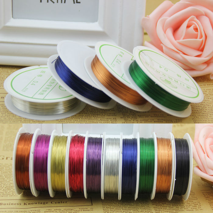 0.4mm 3pcs/lot Copper Jewelry Wire Fit Diy Jewelry Findings Brass Cord Ropes Wire To Bead 15m/Roll Metal Wires Jewellery Making(China (Mainland))