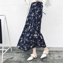 25 couleurs 2019 bohème taille haute imprimé fleuri été jupes femmes Boho asymétrique en mousseline de soie jupe Maxi jupes longues pour les femmes(China)