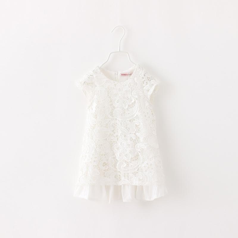 Toddler Girls Lace White Dress Summer 2014 Baby Kids Clothes Korean Fashion Children Clothing Wholesale O-neck Dress 6pcs/LOT<br><br>Aliexpress