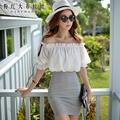 dabuwawa 2016 high quality big sizes summer fashion white stripe patchwork casual off the shoulder mini