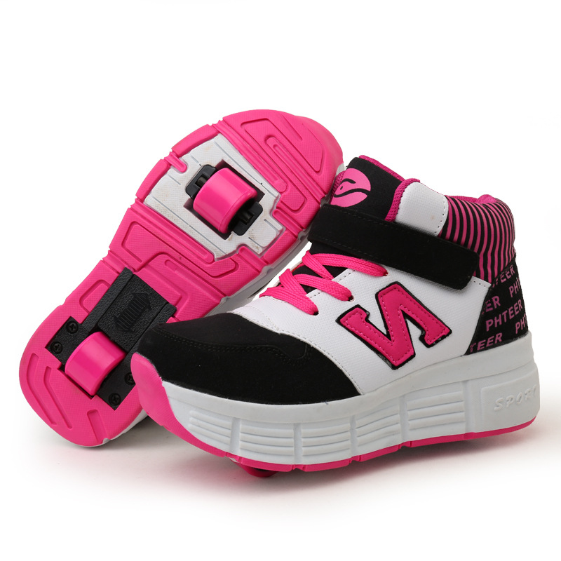 2016 New Kids Heelys Shoes Unisex Adult Boys and Girls Roller Skates Children's Double Wheels High Top Sneakers Sports Shoe(China (Mainland))