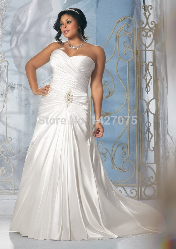 Fashion2015 new white lvory plus size a line satin for Plus size wedding dresses size 28