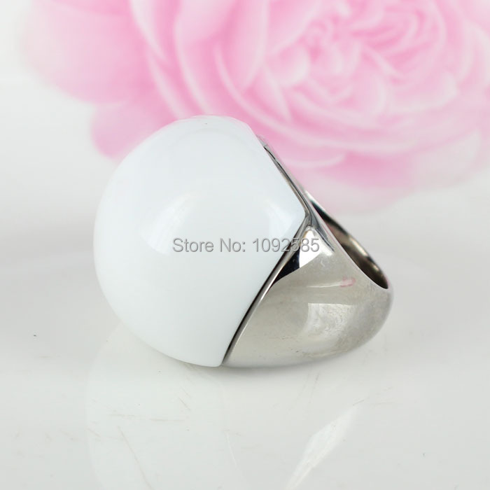 2015 Fashion woman opal jewelry Ring With High quality 316L Stainless steel and White stone ring in silvery color(China (Mainland))