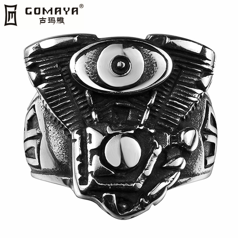 GOMAYA Steel Size 8-11 Stanless Steel Fashion Machinery Storm Jewelry Men's Rings Man(China (Mainland))