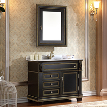 golden line and black oak cabinet and mirror, straight grain white marble, single hole and single basin bathroom vanities(China (Mainland))