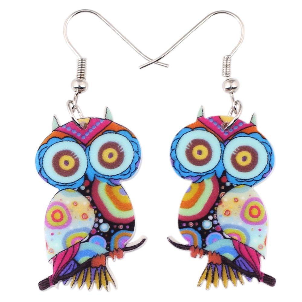 Bonsny Drop Owl Earrings Jewelry Long Dangle Earring Acrylic Cute Pattern Fashion For Women 2015 New Style Girl Accessories(China (Mainland))