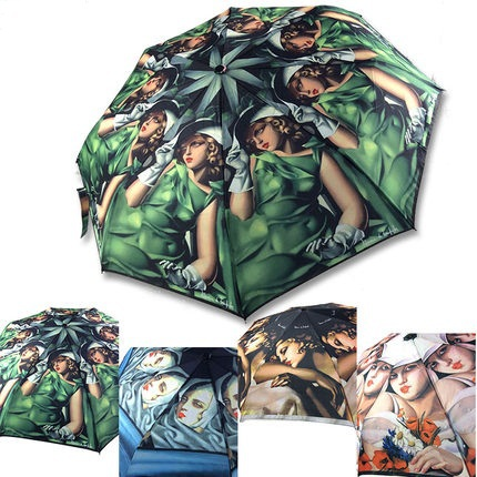 vintage three-folding full automatic women rain umbrellas oil painting European girls and women picture umbrella(China (Mainland))