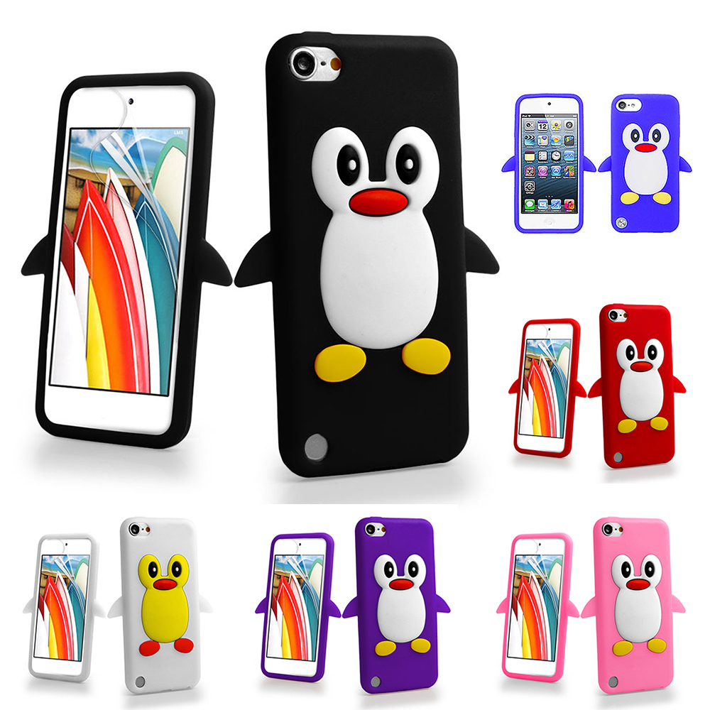 3D Cartoon Penguin Silicone Gel Case Cover For Apple ipod touch 5 5th 5G / Touch 6 6th(China (Mainland))