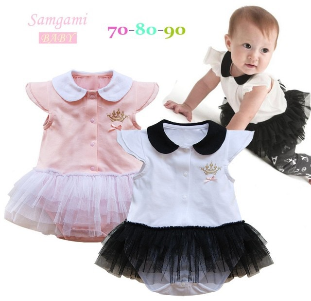 2014new Baby girl bodysuits children baby sleepsuit one piece bodysuits bebe turndown collar crown design free shipping 800A(China (Mainland))