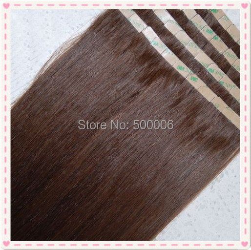 Фотография 7A grade brazilian remy tape in hair glue PU skin weft hair extensions 100g/40pcs #4 100% human hair free shiping
