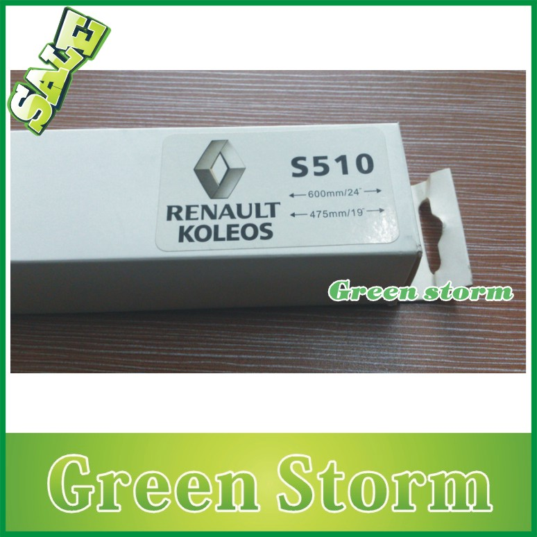 (2pcs/Pair)Universal car wiper blades RENAULT KOLEOS soft silicone Rubber WindShield Wiper Blade Arm - Green Storm Automobile Products co., LTD store