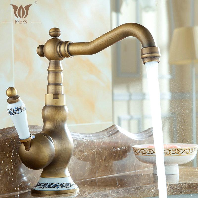 "8"" Antique Brass Porcelain Faucets Bathroom Sink Basin Brass Faucet Mixer Tap 9065AP(China (Mainland))"