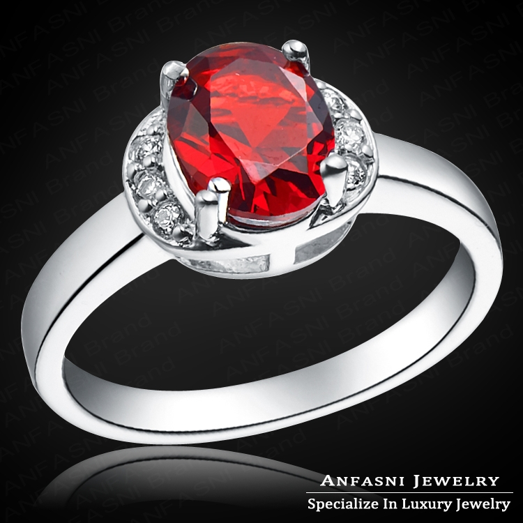 Gorgeous High Imitation Red Ruby Ring Real Platinum Plated Luxury Brand Ring With AAA CZ Diamond