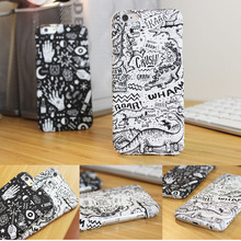 2016 Cool Case I6 5G New Cartoon Case Matte White And Black Plastic Phone Cover Case For Iphone5 5s 6s 6Plus 6 Phone Accessories