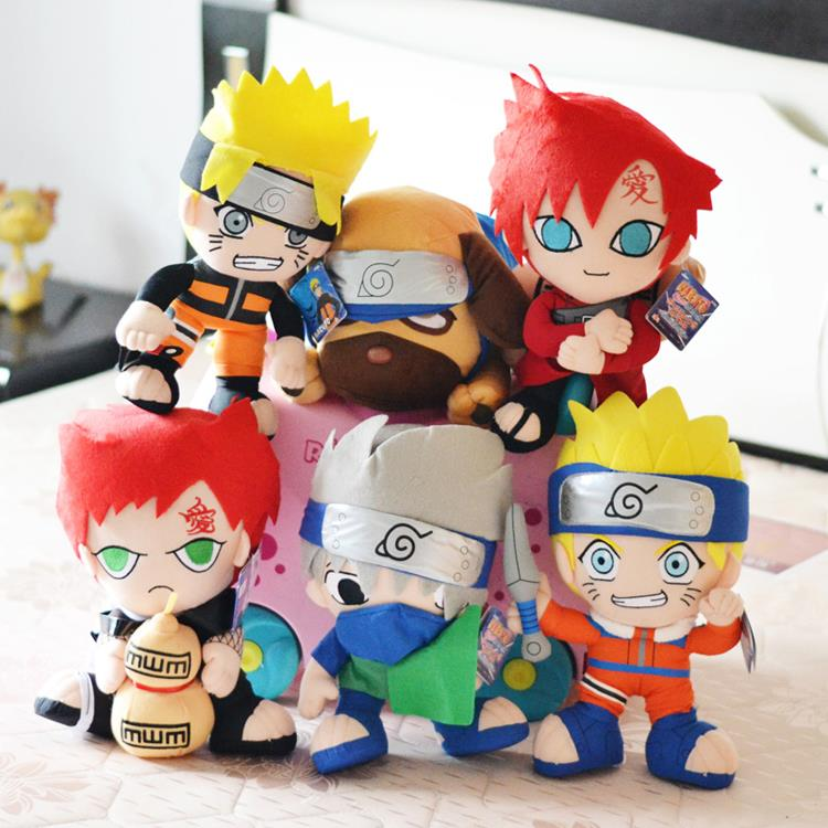 6pcs/lot 30cm Naruto Uzumaki Naruto & Hatake Kakashi & Gaara & Pakkun Dog Plush Toys Doll Stuffed Toys Soft Toy Gifts for Kids(China (Mainland))