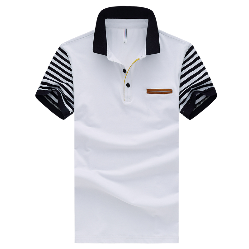 2016 new men striped patchwork polo shirt Top short sleeved casual polo shirt cotton Slim fit sport polo plus size 3XL 4XL 5XL(China (Mainland))