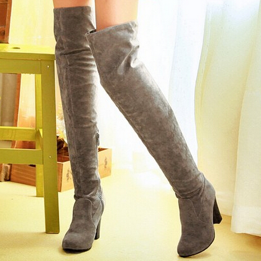 sexy thick heel faux suede shoes 2015 women fashion knee boots Black Blue Gray high boots<br><br>Aliexpress