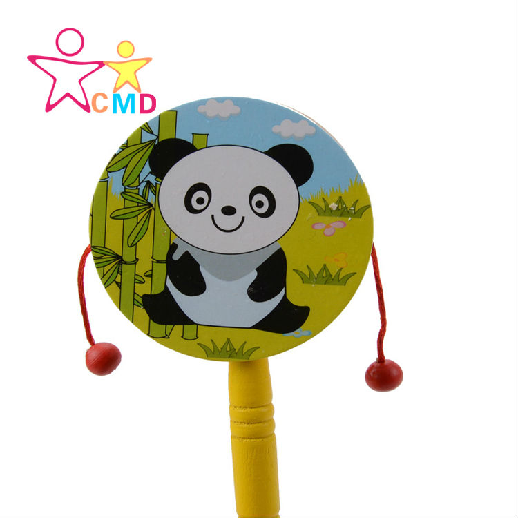 Cartoon baby hand drum Educational Musical Instrument Toy Shaking thin rattle Low Price(China (Mainland))