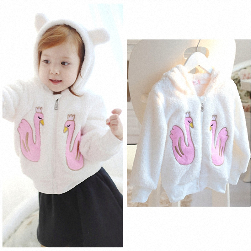 2T to 7T children girls white cartoon print hooded fleece long sleeve fall winter jacket & coat kids fashion outerwear clothes(China (Mainland))