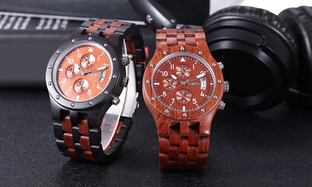 BEWELL Мужчины Деревянный Кварцевые Часы Японии Movt Рабочих Суб-циферблат Отображения Даты Наручные Часы