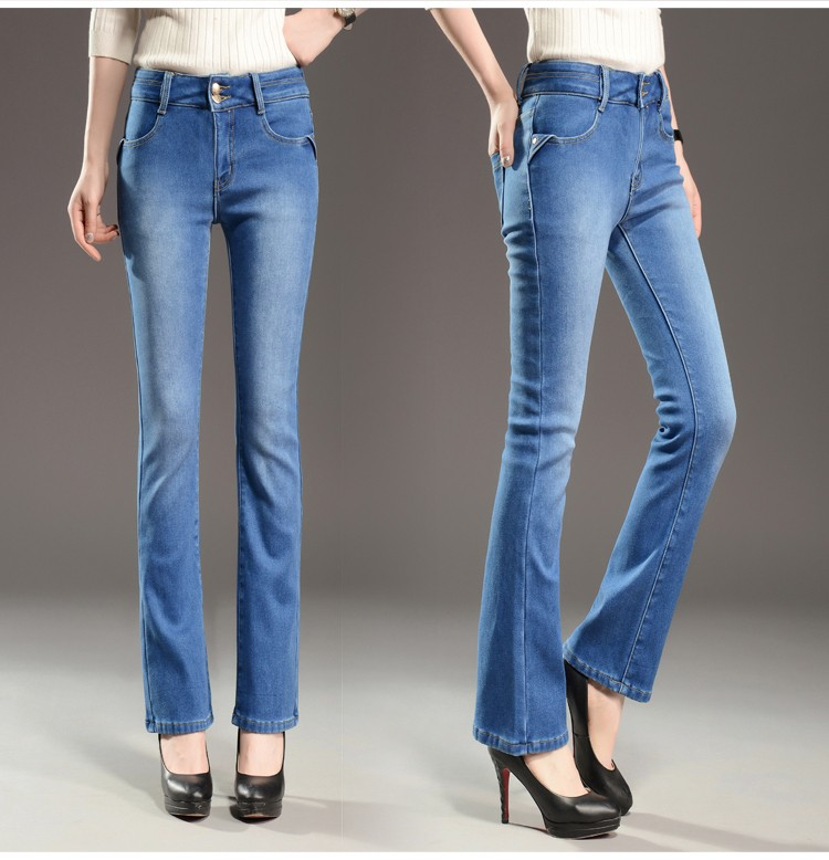 Скидки на Женские теплые брюки для зимних высокой талией стретч руно выстроились flare джинсы прямые узкие брюки-клеш женщины тепловой одежда